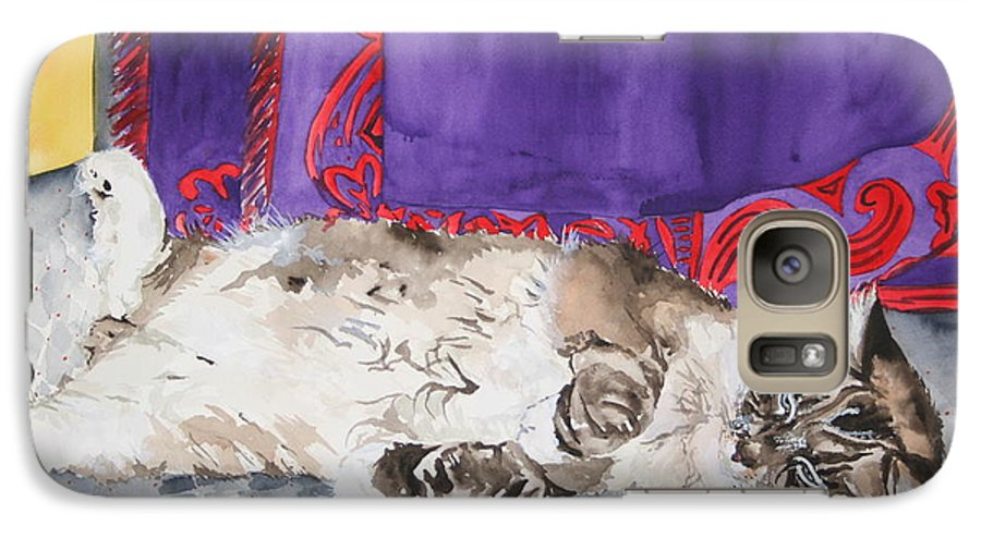 Cat Galaxy S7 Case featuring the painting Guilley by Jean Blackmer