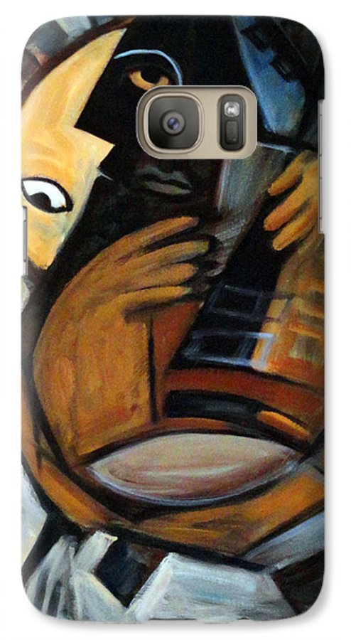 Cubism Galaxy S7 Case featuring the painting Guitarist by Valerie Vescovi