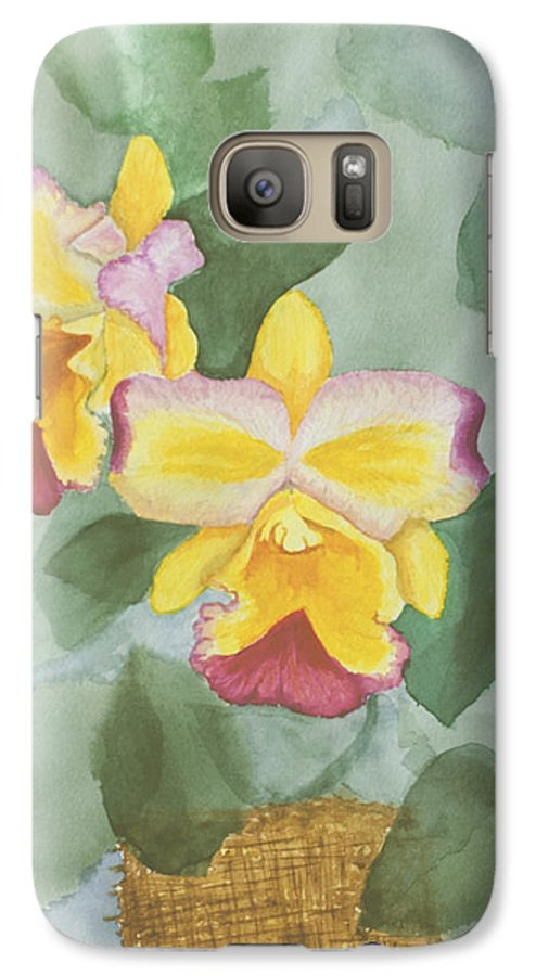 Orchids Galaxy S7 Case featuring the painting Gypsy Orchids by Peggy King