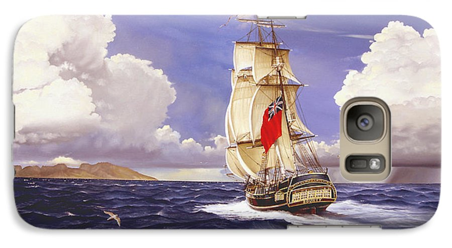 Marine Galaxy S7 Case featuring the painting H. M. S. Bounty At Tahiti by Marc Stewart