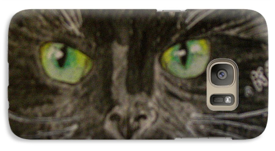 Halloween Galaxy S7 Case featuring the painting Halloween Black Cat I by Kathy Marrs Chandler