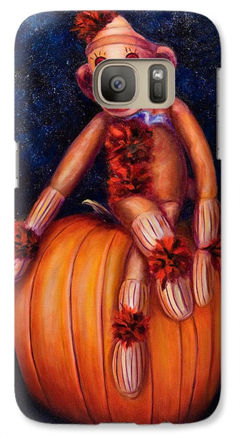 Pumpkin Galaxy S7 Case featuring the painting Halloween by Shannon Grissom