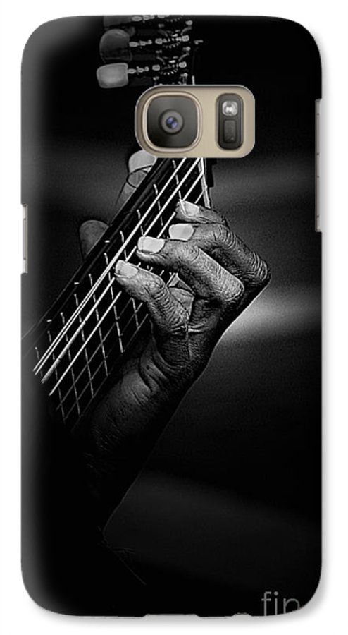 Guitar Galaxy S7 Case featuring the photograph Hand Of A Guitarist In Monochrome by Sheila Smart Fine Art Photography