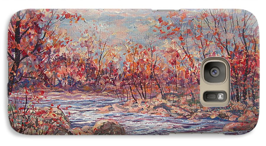 Landscape Galaxy S7 Case featuring the painting Happy Autumn Days. by Leonard Holland