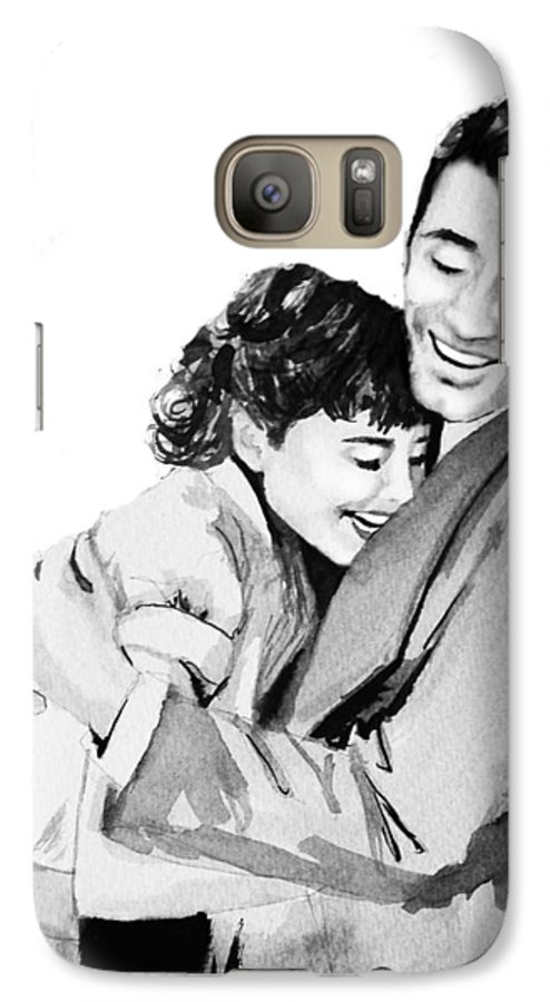 Hug Galaxy S7 Case featuring the painting Happy by Laura Rispoli