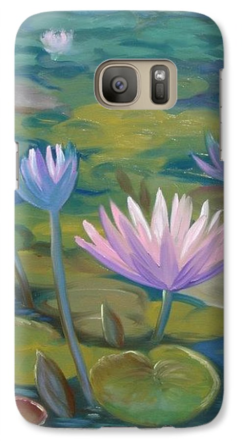 Pond Galaxy S7 Case featuring the painting Happy Lilies by Tan Nguyen