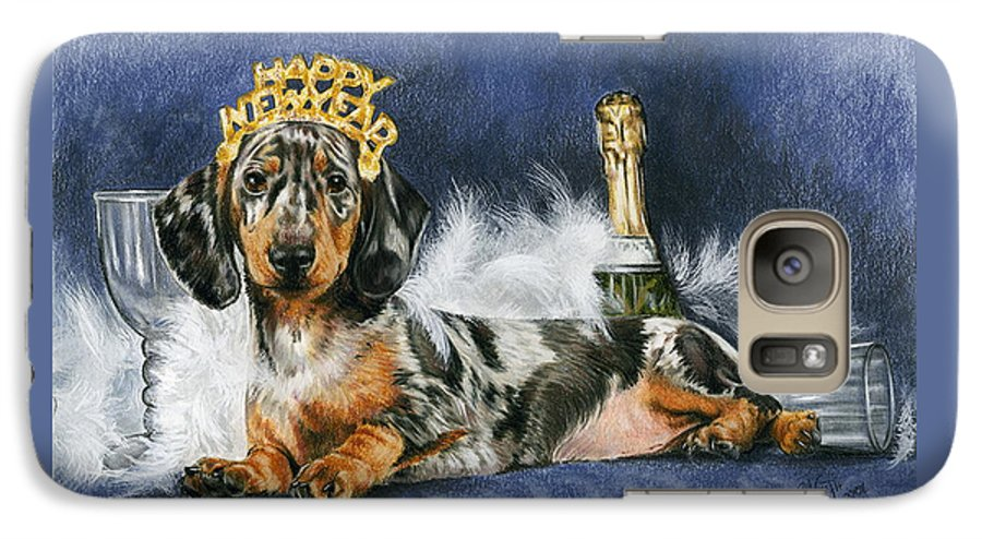 Dogs Galaxy S7 Case featuring the mixed media Happy New Year by Barbara Keith