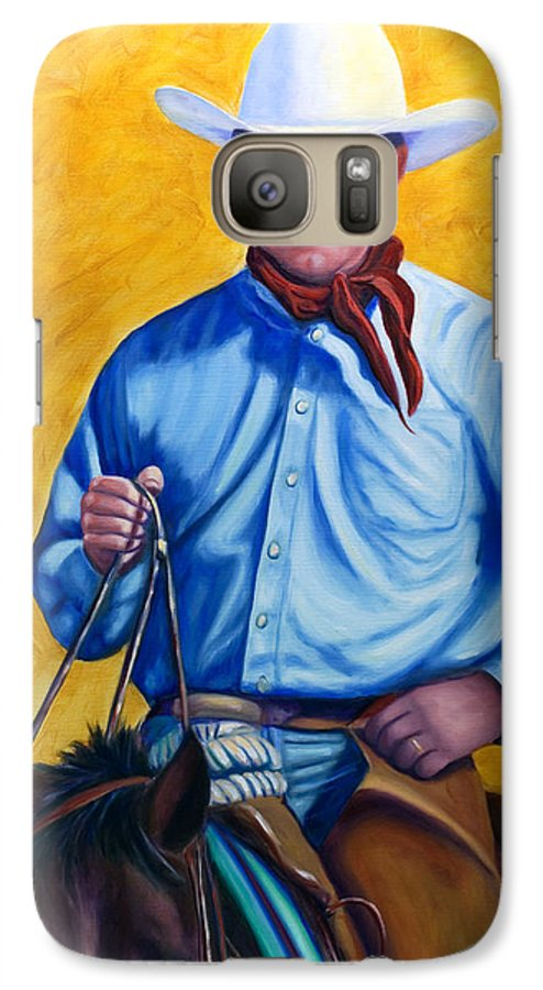 Cowboy Galaxy S7 Case featuring the painting Happy Trails by Shannon Grissom