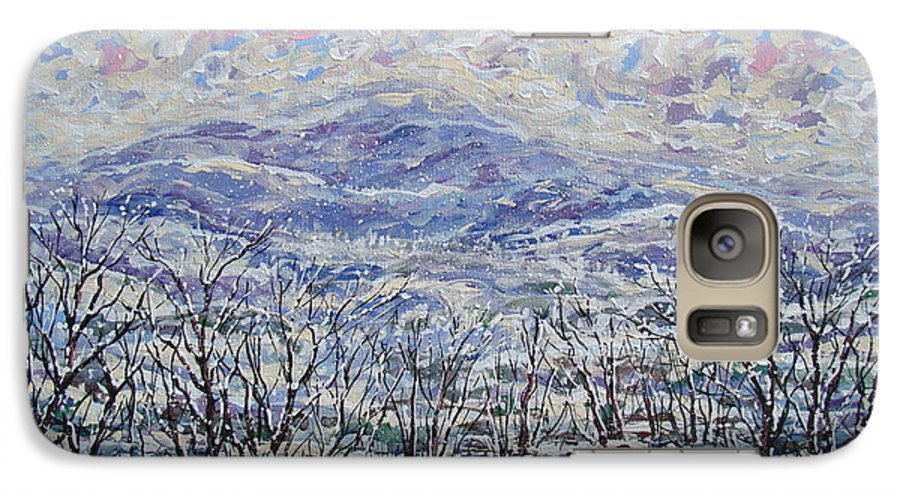 Landscape Galaxy S7 Case featuring the painting Happy Winter. by Leonard Holland