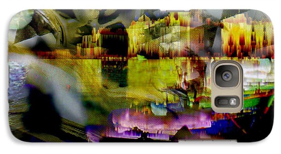 European Galaxy S7 Case featuring the digital art Harbor Scene Through A Vodka Bottle by Seth Weaver