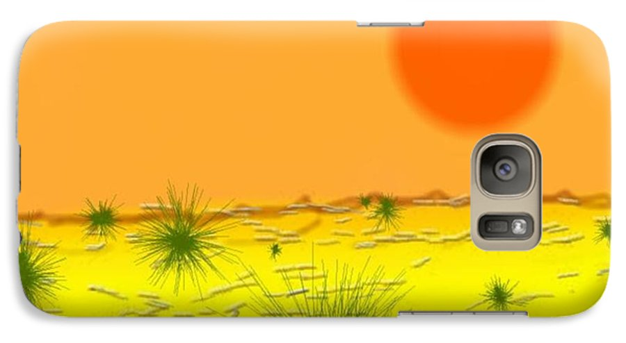 Sky.sun.desert.sand.heat.rare Bushes Of The Prickle.dust.dry. Galaxy S7 Case featuring the digital art Hard Sun Of Desert by Dr Loifer Vladimir