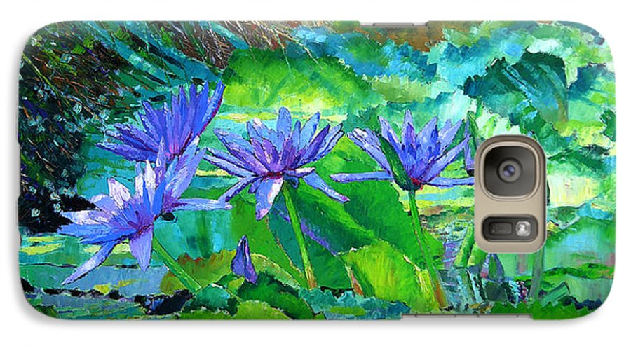 Purple Water Lilies Galaxy S7 Case featuring the painting Harmony Of Purple And Green by John Lautermilch