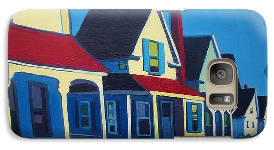 Maine Galaxy S7 Case featuring the painting Harpswell Cottages by Debra Bretton Robinson