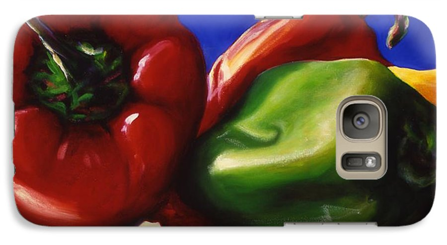 Still Life Galaxy S7 Case featuring the painting Harvest Festival Peppers by Shannon Grissom
