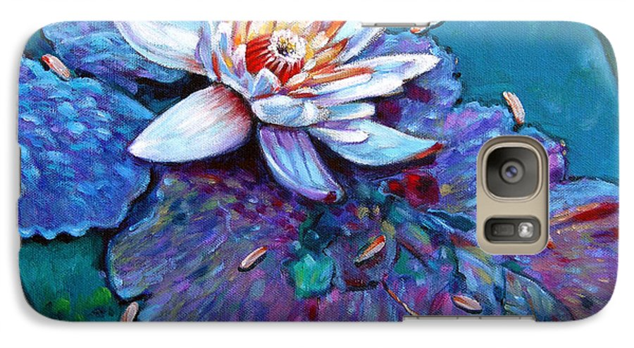 Water Lily Galaxy S7 Case featuring the painting Harvest Moon by John Lautermilch