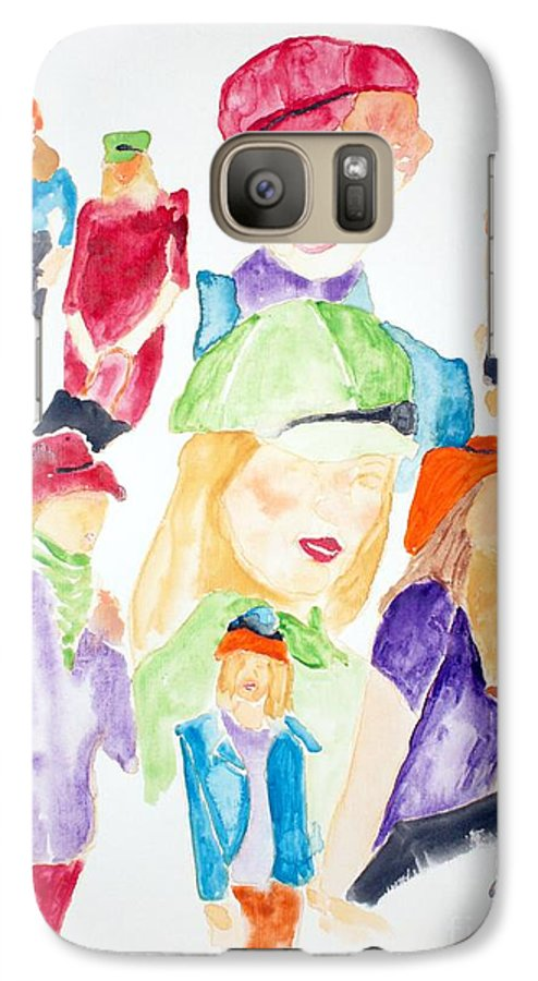 Hats Galaxy S7 Case featuring the painting Hats by Shelley Jones
