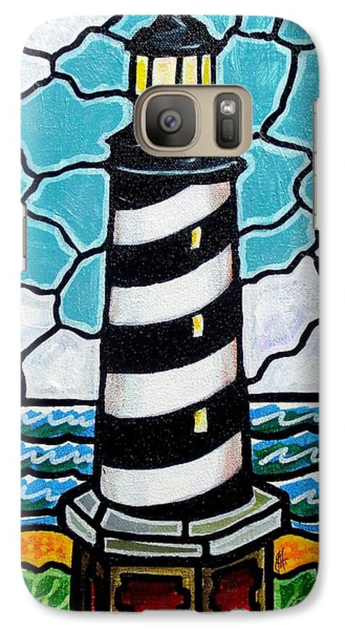 Lighthouse Galaxy S7 Case featuring the painting Hatteras Island Lighthouse by Jim Harris