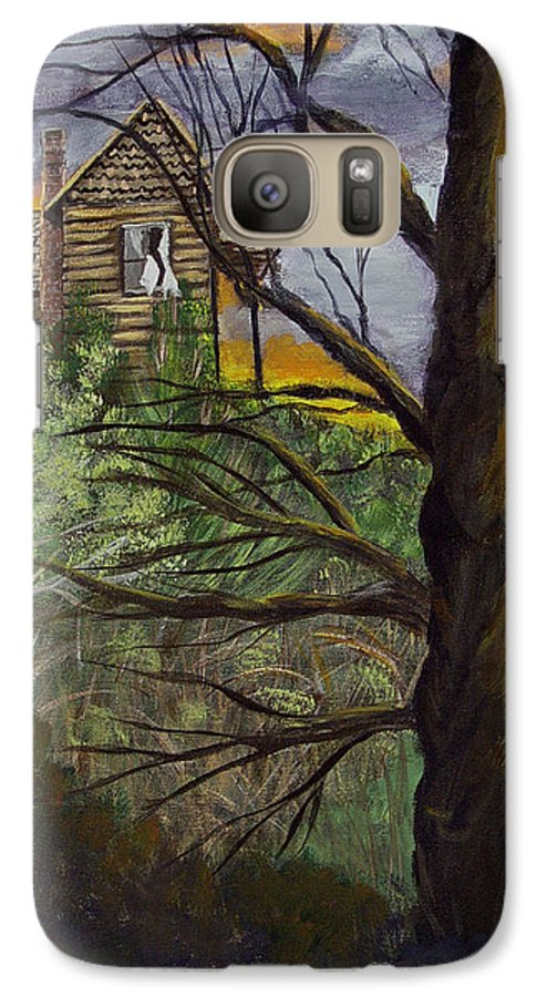 House Galaxy S7 Case featuring the painting Haunted House by Quwatha Valentine