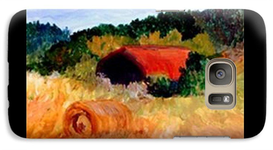 Hayrolls Galaxy S7 Case featuring the painting Hayrolls by Gail Kirtz