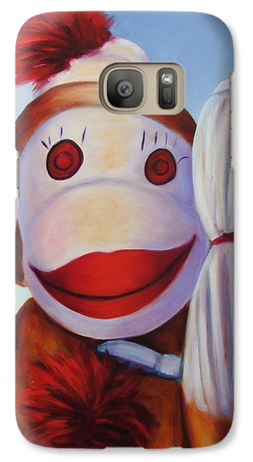 Children Galaxy S7 Case featuring the painting Hear No Bad Stuff by Shannon Grissom