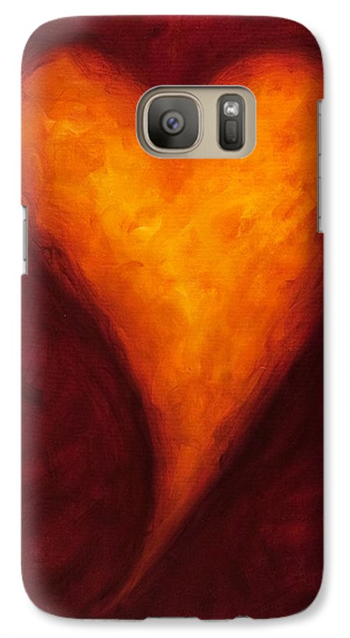 Heart Galaxy S7 Case featuring the painting Heart Of Gold 2 by Shannon Grissom