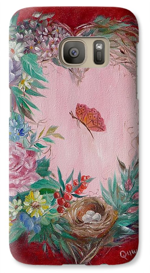 Heart Galaxy S7 Case featuring the painting Heart Wreath by Quwatha Valentine
