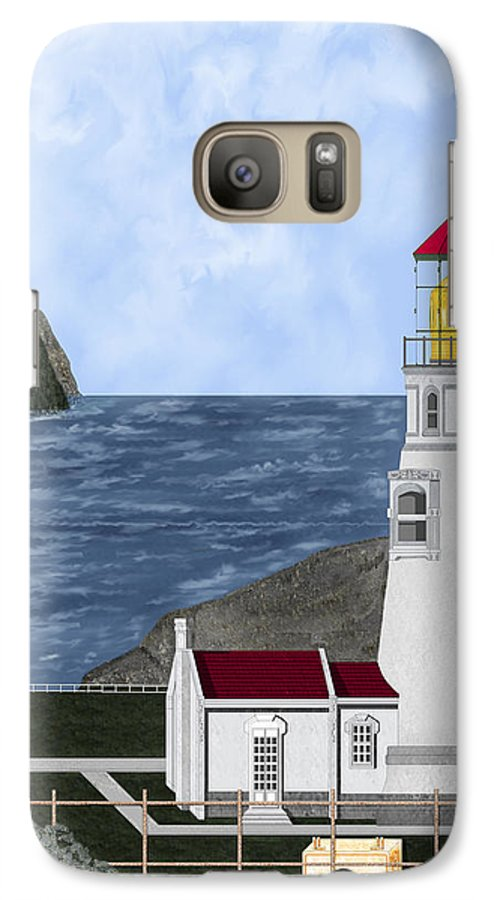 Lighthouse Galaxy S7 Case featuring the painting Heceta Head Oregon by Anne Norskog
