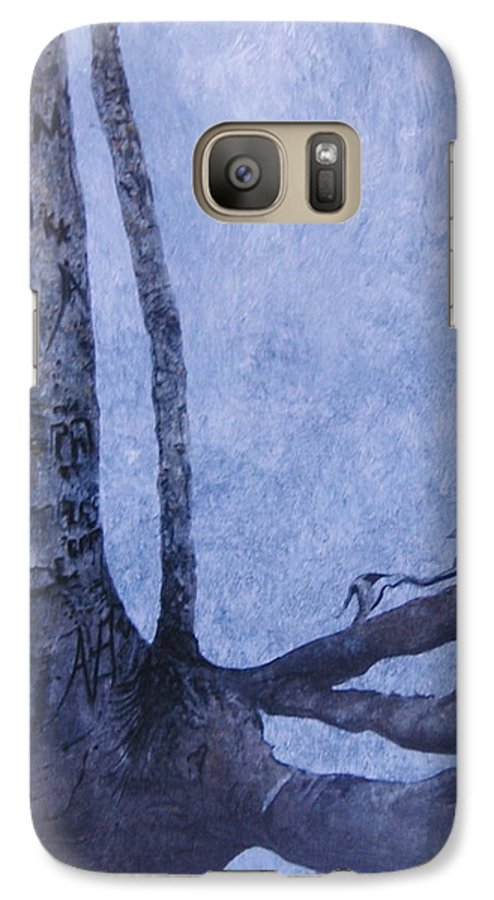 Tree Trunk Galaxy S7 Case featuring the painting Hedden Park II by Leah Tomaino