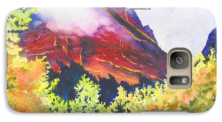 Mountain Galaxy S7 Case featuring the painting Heights Of Glacier Park by Karen Stark