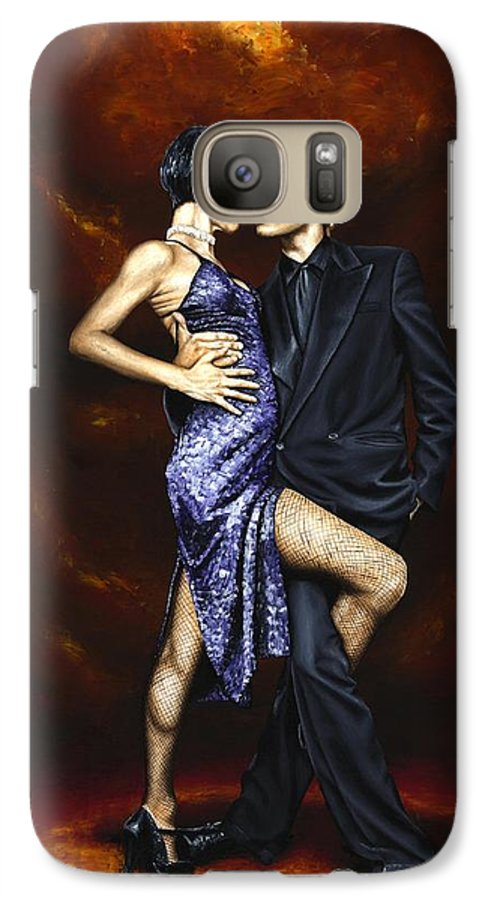 Tango Dancers Love Passion Female Male Woman Man Dance Galaxy S7 Case featuring the painting Held In Tango by Richard Young