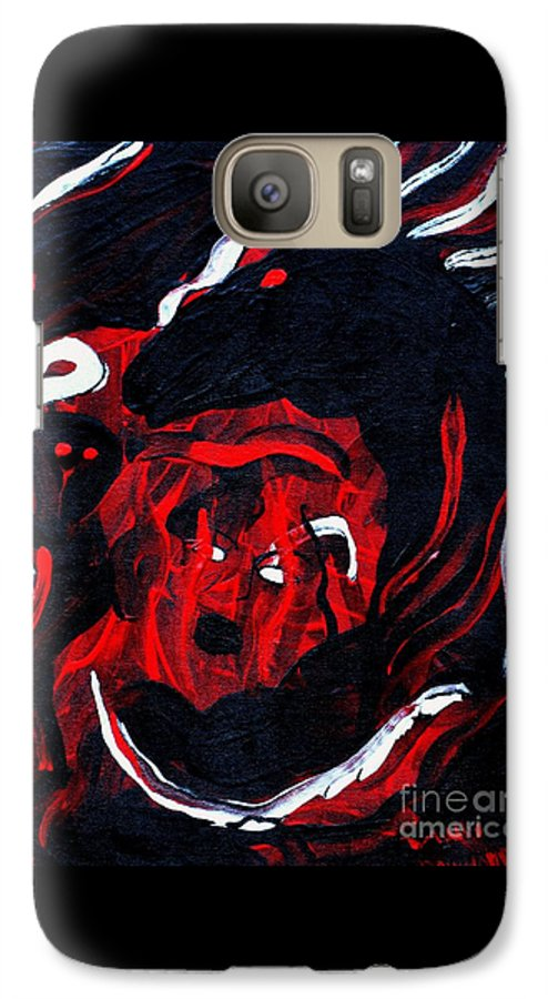 Horse Woman Red Black Silver Galaxy S7 Case featuring the painting Hell Beast by Dawn Downour