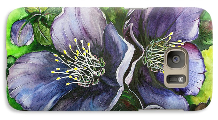 Flower Painting Botanical Painting Original W/c Painting Helleborous Painting Galaxy S7 Case featuring the painting Helleborous Blue Lady by Karin Dawn Kelshall- Best