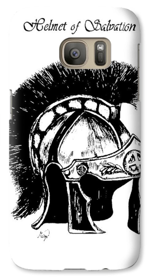 Helmet Galaxy S7 Case featuring the drawing Helmet Of Salvation by Maryn Crawford