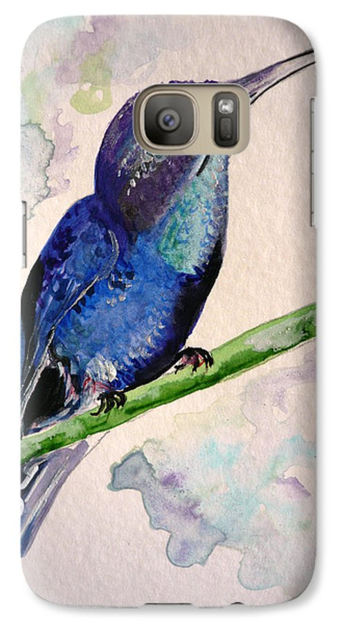 Hummingbird Painting Bird Painting Tropical Caribbean Painting Watercolor Painting Galaxy S7 Case featuring the painting hHUMMINGBIRD 2  by Karin Dawn Kelshall- Best