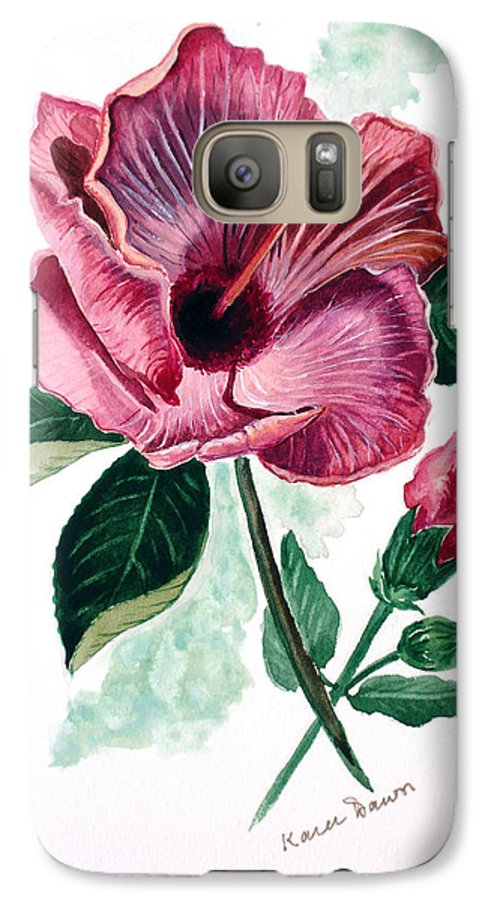 Flora Painting L Hibiscus Painting Pink Flower Painting Greeting Card Painting Galaxy S7 Case featuring the painting Hibiscus Dusky Rose by Karin Dawn Kelshall- Best