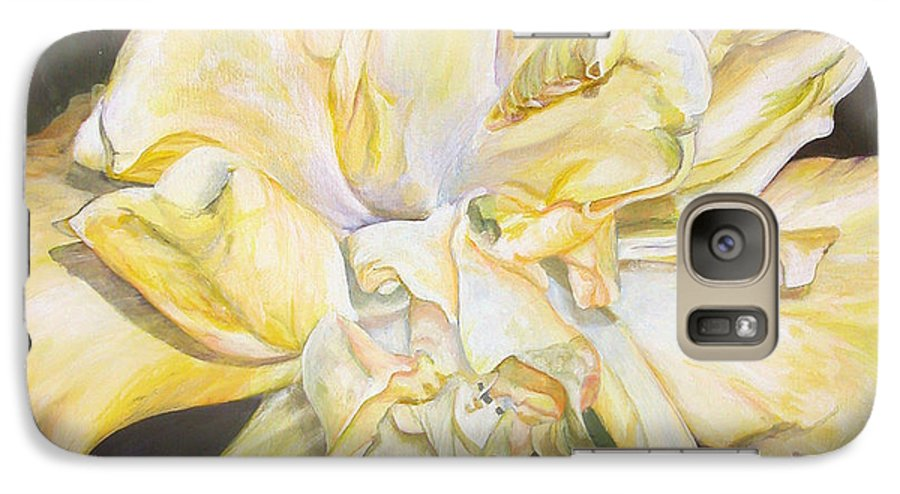 Floral Painting Galaxy S7 Case featuring the painting Hibiscus Jaune by Muriel Dolemieux