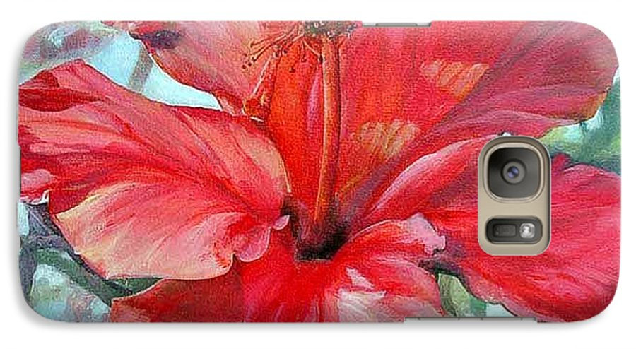 Floral Painting Galaxy S7 Case featuring the painting Hibiscus Rouge by Muriel Dolemieux
