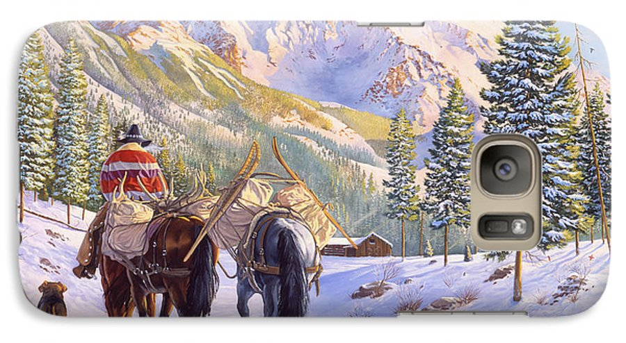Horses Galaxy S7 Case featuring the painting High Country by Howard Dubois