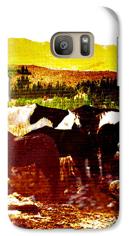 Mustangs Galaxy S7 Case featuring the digital art High Plains Horses by Seth Weaver