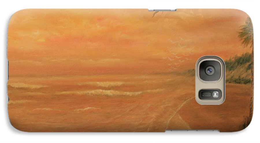 Beach; Ocean; Palm Trees; Water Galaxy S7 Case featuring the painting High Tide by Ben Kiger