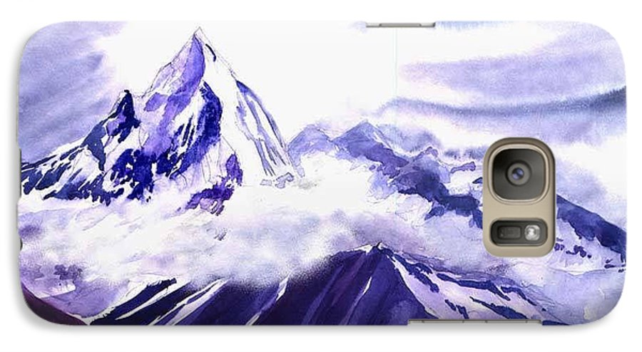 Landscape Galaxy S7 Case featuring the painting Himalaya by Anil Nene