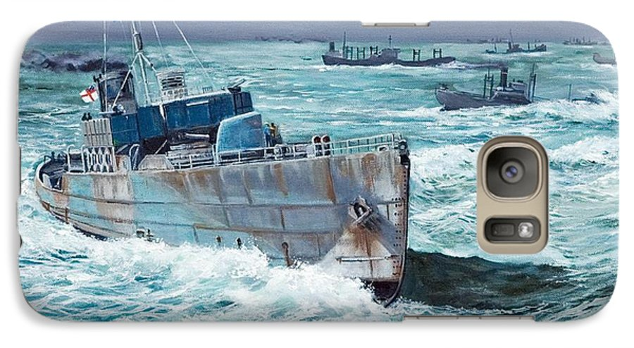 Hms Compass Rose Galaxy S7 Case featuring the painting Hms Compass Rose Escorting North Atlantic Convoy by Glenn Secrest