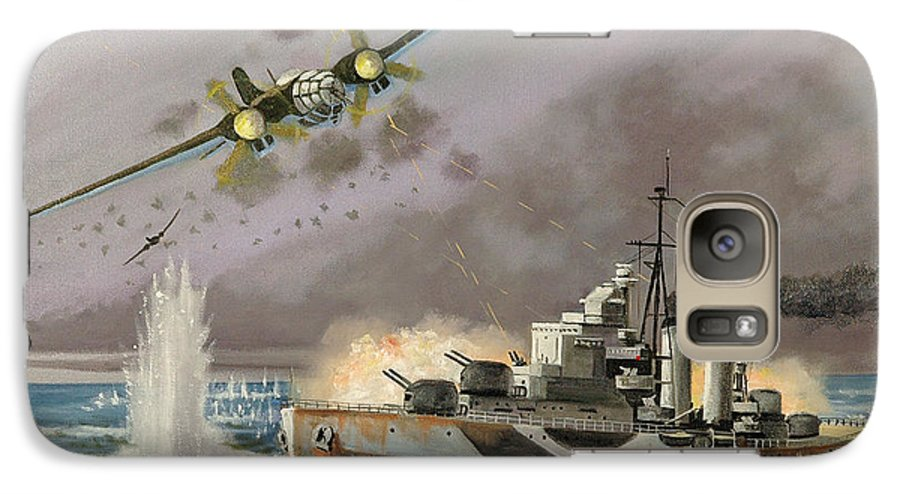 Ships That Never Were Galaxy S7 Case featuring the painting Hms Ulysses Attacked By Heinkel IIis Off North Cape by Glenn Secrest