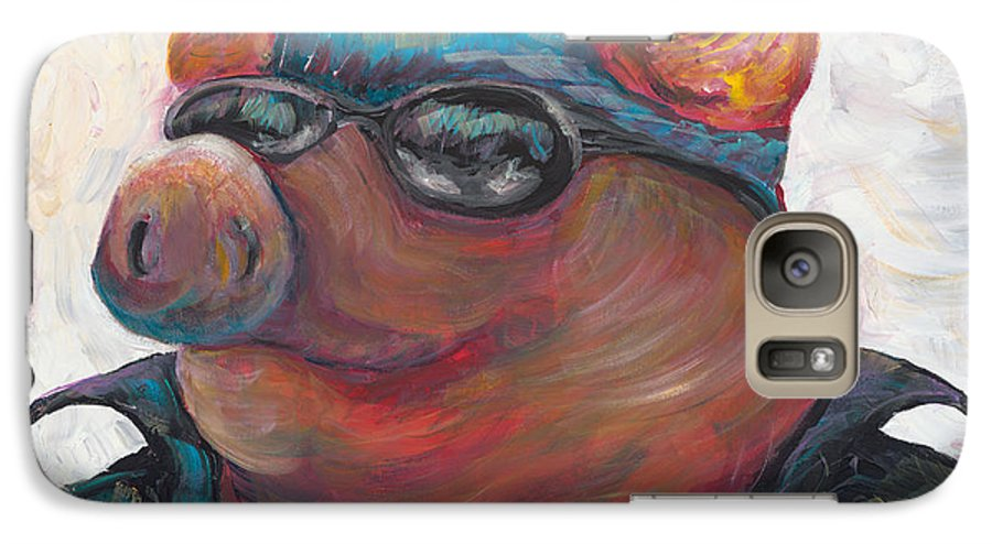 Hog Galaxy S7 Case featuring the painting Hogley Davidson by Nadine Rippelmeyer