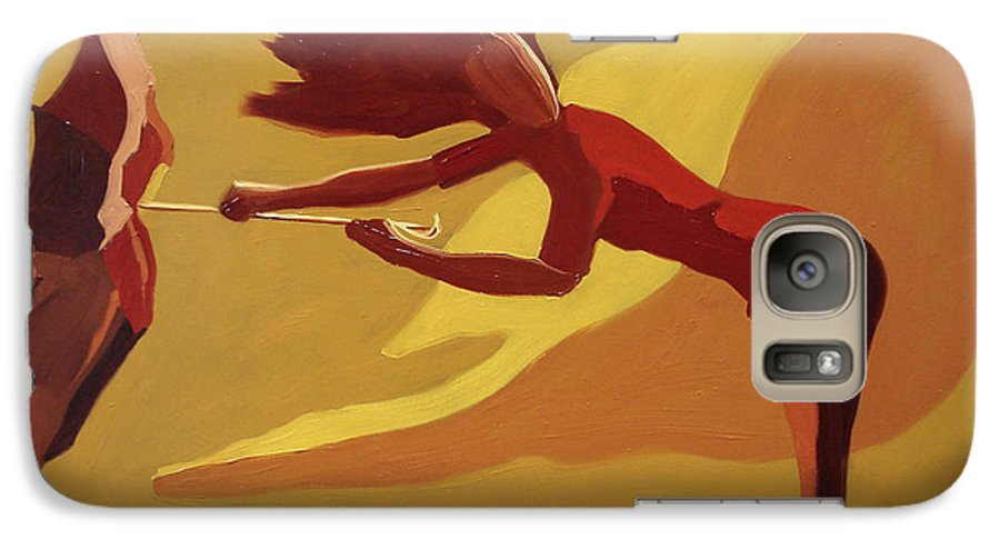 Woman Galaxy S7 Case featuring the painting Hold On by Barbara Andolsek