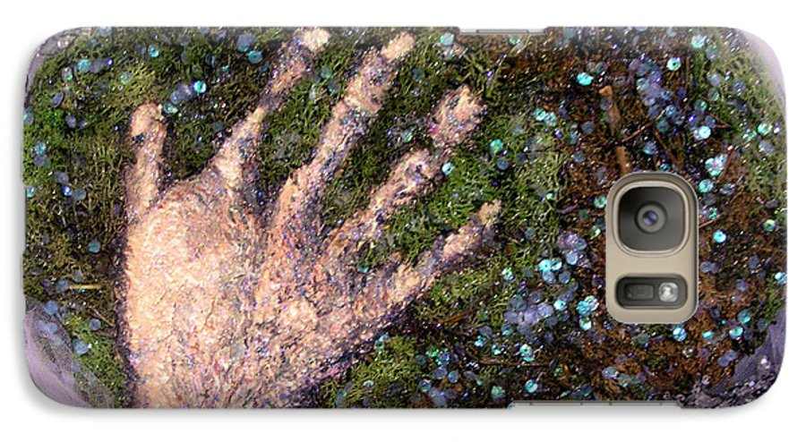 Evocative Espressionism Galaxy S7 Case featuring the mixed media Holding Earth From The Series Our Book Of Common Faith by Stephen Mead