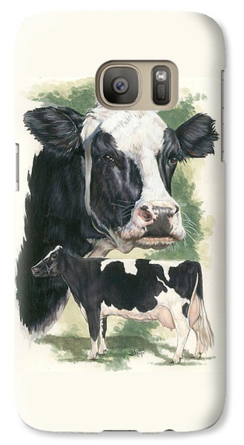 Cow Galaxy S7 Case featuring the mixed media Holstein by Barbara Keith