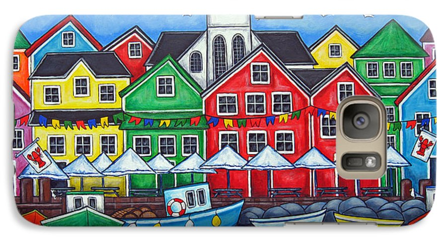 Boats Canada Colorful Docks Festival Fishing Flags Green Harbor Harbour Galaxy S7 Case featuring the painting Hometown Festival by Lisa Lorenz