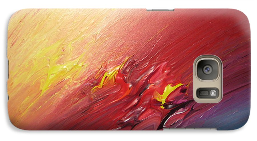 Abstract Galaxy S7 Case featuring the painting Honeymoon Bliss - A by Brenda Basham Dothage