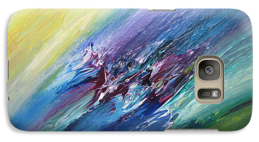 Abstract Galaxy S7 Case featuring the painting Honeymoon Bliss - C by Brenda Basham Dothage